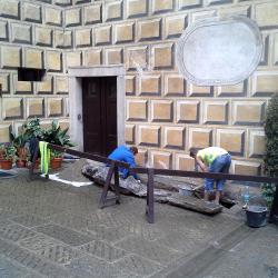 Kamenické práce při havárii kanalazice